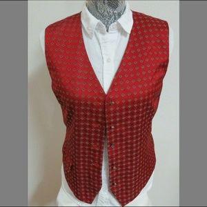 Sz 10 Red Liz Claiborne Womens Poly #69U Suit Vest